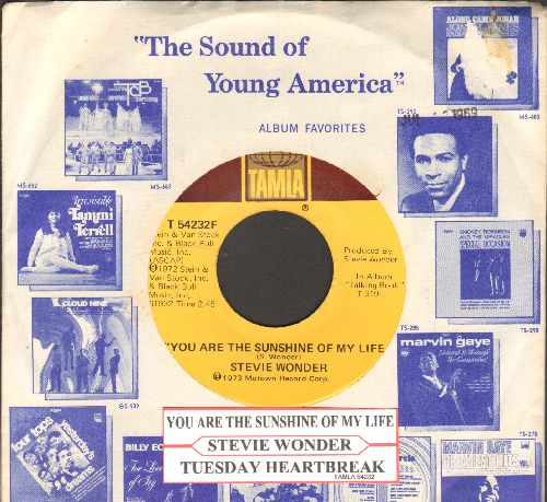 Wonder, Stevie - You Are The Sunshine Of My Life/Tuesday Heartbreak (with juke box label and company sleeve) - NM9/ - 45 rpm Records
