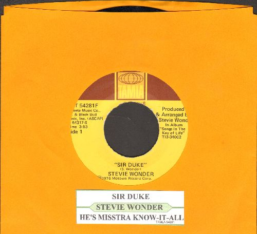 Wonder, Stevie - Sir Duke (You Can Feel It All Over)/He's Misstra Know-It All (NICE condition with juke box label) - NM9/ - 45 rpm Records