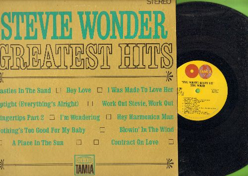 Wonder, Stevie - Greatest Hits: Contract On Love, Blowin' In The Wind, Uptight, Fingertips Part 2, Hey Harmonica Man, I Was Made To Love Her, A Place In The Sun (Vinyl STEREO LP record, RARE double-globe label) - EX8/EX8 - LP Records