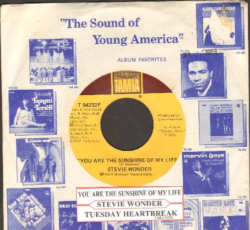 Wonder, Stevie - You Are The Sunshine Of My Life/Tuesday Heartbreak (with juke box label and Motown company sleeve) - NM9/ - 45 rpm Records