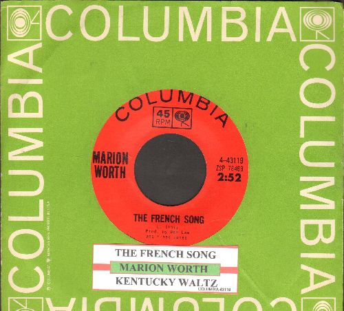 Worth, Marion - The French Song/Kentucky Waltz (with juke box label and Columbia company sleeve) - NM9/ - 45 rpm Records