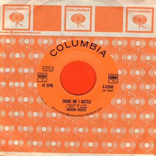 Worth, Marion - Shake Me I Rattle (Sqeeze Me I Cry)/Tennessee Teardrops (with Columbia company sleeve) - VG7/ - 45 rpm Records