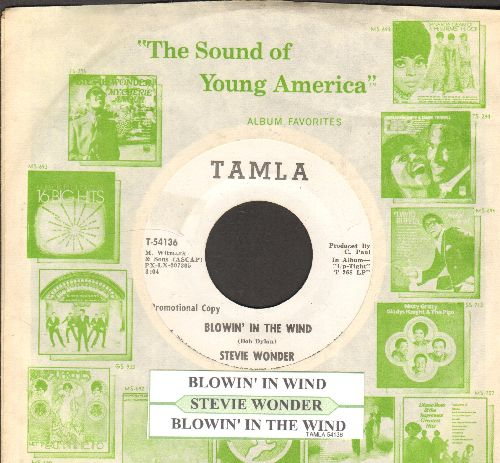 Wonder, Stevie - Blowin In The Wind (double-A-sided DJ advance pressing with juke box label and company sleeve) - EX8/ - 45 rpm Records
