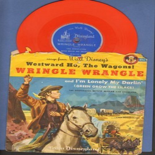 Sandpipers & Mitch Miller Orchestra - Wringle Wrangle/I'm Lonely My Darlin' (Green Grow The Lilacs) (from Walt Disney's -Westward Ho, The Wagons!-) - RARE vintage 5 inch color vinyl 78rpm record with picture sleeve - EX8/VG6 - 78 rpm