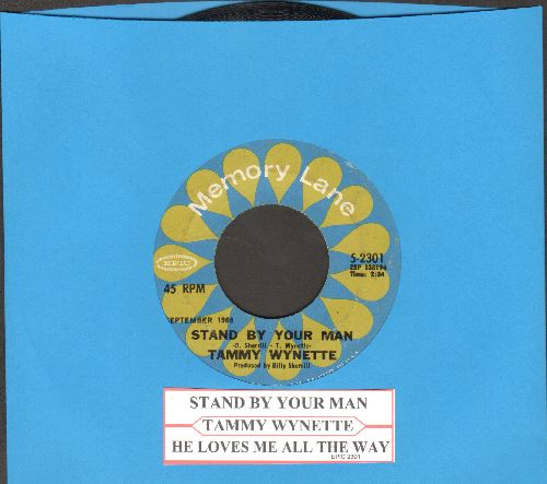 Wynette, Tammy - Stand By Your Man/He Loves Me All The Way (re-issue with juke box label) - NM9/ - 45 rpm Records