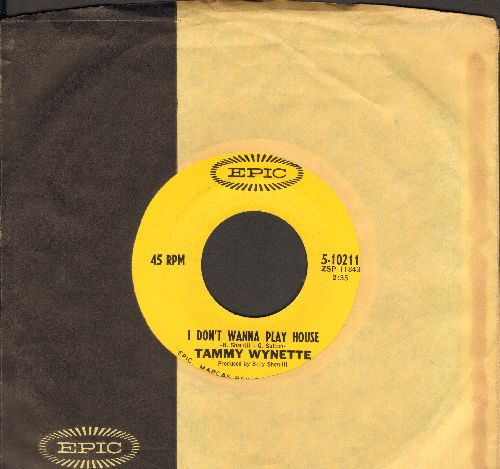 Wynette, Tammy - I Don't Wanna Play House/Soakin' Wet (with vintage Epic company sleeve) - NM9/ - 45 rpm Records