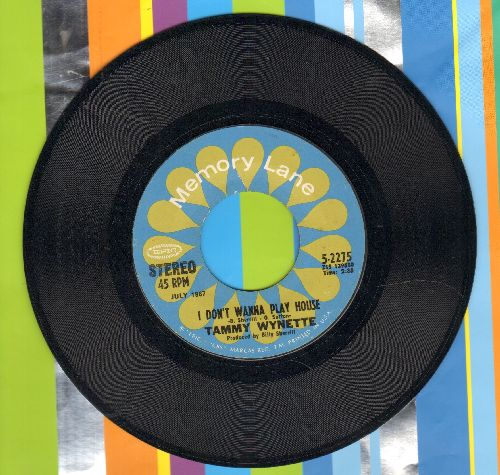Wynette, Tammy - I Don't Wanna Play House/Take Me To Your World (double-hit re-issue) - NM9/ - 45 rpm Records