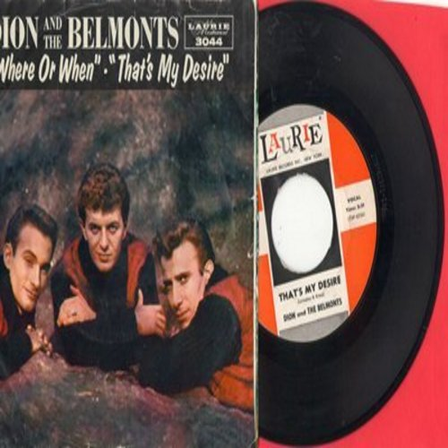 Dion & The Belmonts - That's My Desire/Where Or When (with RARE picture sleeve) - EX8/VG7 - 45 rpm Records