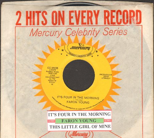 Young, Faron - It's Four In The Morning/This Little Girl Of Mine (double-hit re-issue with juke box label and company sleeve) - NM9/ - 45 rpm Records