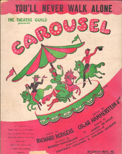 Rodgers & Hammerstein - You'll Never Walk Alone - Vintage SHEET MUSIC for the love theme from Broadway's -Carousel-, also legendary Anthem for British & German Football matches! (pink/green 2 color cover with carousel) - VG6/ - Sheet Music