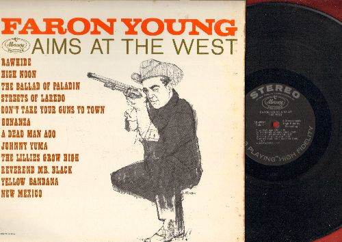 Young, Faron - Faron Young Aims At The West: Rawhide, High Noon, The Ballad Of Paladin, Streets Of Laredo, Bonanza (vinyl STEREO LP record) - NM9/EX8 - LP Records
