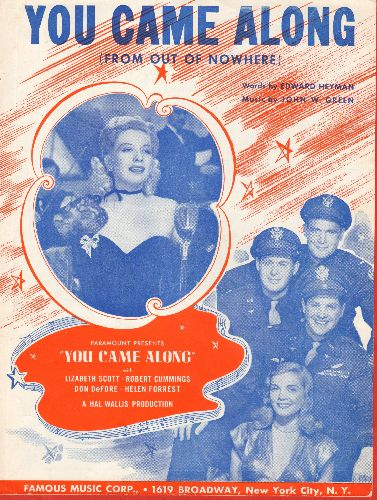 Scott, Lisbeth, Bob Cummings, Don DeFore, Helen Forrest - You Came Along (From Out Of Nowhere) - Vintage SHEET MUSIC for the song featured in film of same title, NICE cover art featuring stars! - EX8/ - Sheet Music