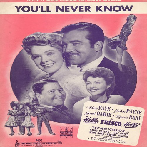 Faye, Alice - You'll Nevr Know - Vintage SHEET MUSIC for song featured in 1943 film