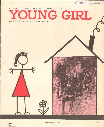 Union Gap - Young Girl - Vintage SHEET MUSIC for the Union Gap Hit - EX8/ - Sheet Music