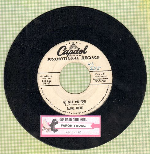 Young, Faron - Go Back You Fool.All Right (DJ advance pressing with juke box label) - VG6/ - 45 rpm Records