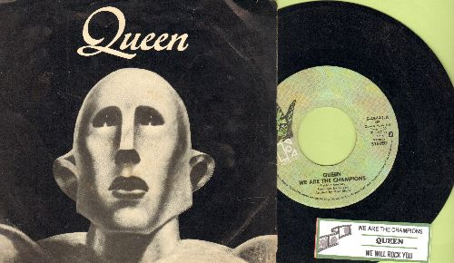 Queen - We Are The Champions/We Will Rock You (1977 first pressing with RARE picture sleeve and juke box label) - NM9/EX8 - 45 rpm Records