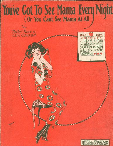 Douglas, Norma - You've Got To See Mama Every Night (Or You Can't See Mama At All - Vintage 1923 SHEET MUSIC for the Jazz Classic (GREAT cover art, suitable for framing!) - EX8/ - Sheet Music