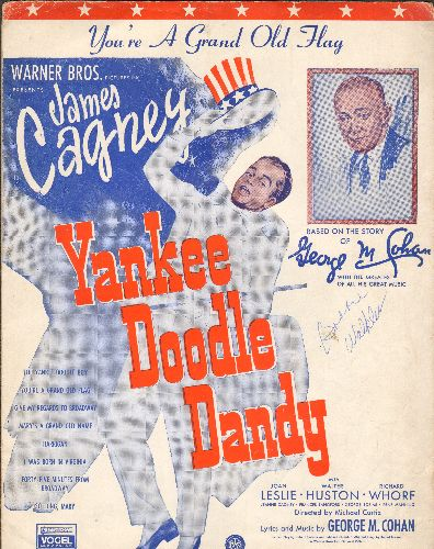 Cohan, George M. - You're A Grand Old Flag - Vintage Sheet Music of Classic American Cheer Song, NICE cover art of James Cagney in film -Yankee Doodle Dandy-! - NM9/ - Sheet Music