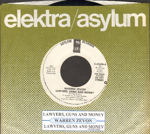 Zevon, Warren - Lawyers, Guns And Money (double-A-sided DJ advance pressing with juke box label and company sleeve) - EX8/ - 45 rpm Records