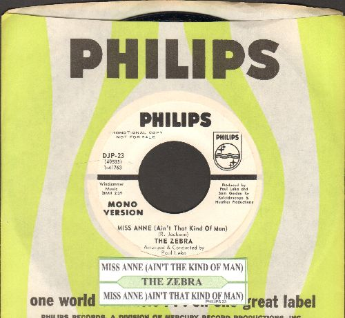 Zebra - Miss Anne (Ain't That Kind Of Man) (RARE double-A-sided MONO/STEREO DJ advance pressing, MINT condition with juke box label and Philips company sleeve) - NM9/ - 45 rpm Records