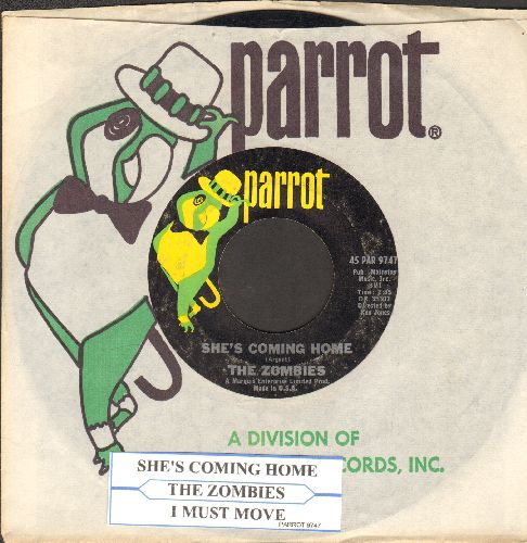 Zombies - She's Coming Home/I Must Move (with juke box label and Parrot company sleeve) - VG7/ - 45 rpm Records
