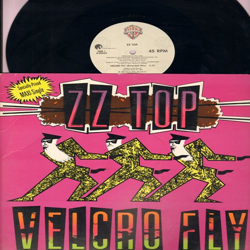 ZZ Top - Velcro Fly (6:35 minutes Extended Mix)/Velcro Fly (5:42 Dub Version)/Woke Up With Wood (3:45 LP Version) (12 inch 45rpm Maxi Single with picture cover) - NM9/EX8 - LP Records